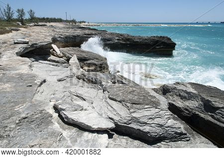 The Wave Hitting Grand Bahama Island Coastline That Is Eroded And Falling Apart.