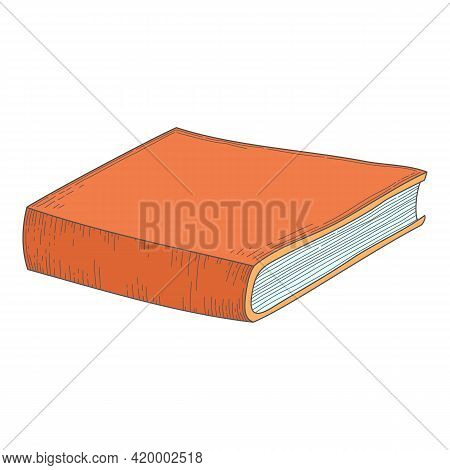 Old Historical Book In Hardbacks With Bookmarks Isolated On White Background. Pile Of Ancient Textbo