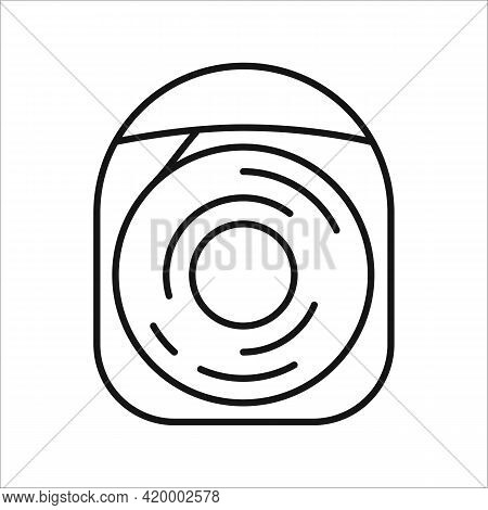 Dental Floss Vector Outline Illustration. Single Flossing Icon Isolated On White Background. Simple