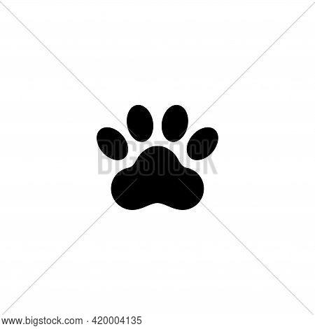 Dog Or Cat Paw Print, Animal Foot. Flat Vector Icon Illustration. Simple Black Symbol On White Backg