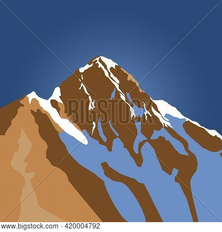 Himalayas Nepal Mountains Blue Vector Landscape Illustration