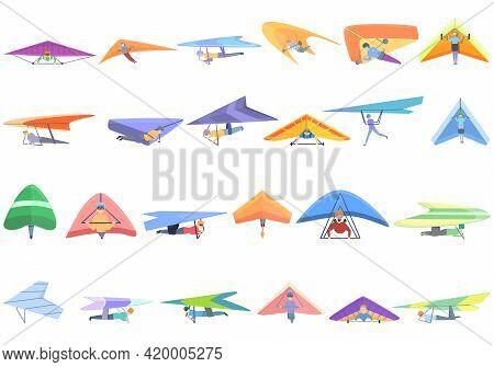 Hang Glider Icons Set. Cartoon Set Of Hang Glider Vector Icons For Web Design