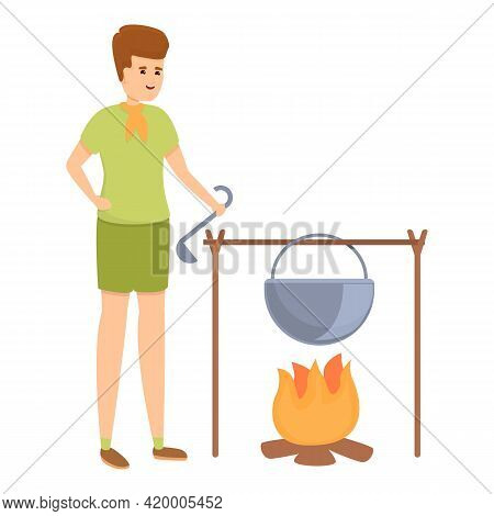 Scouting Firecamp Cooking Icon. Cartoon Of Scouting Firecamp Cooking Vector Icon For Web Design Isol
