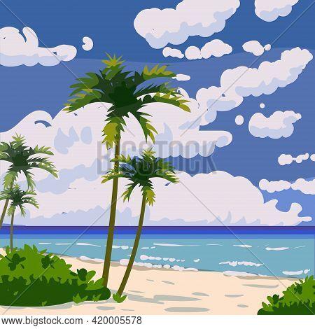 Tropical Beach Summer Resort, Seashore Sand, Palms, Waves. Ocean, Sea Exotical Beach Landscape, Clou