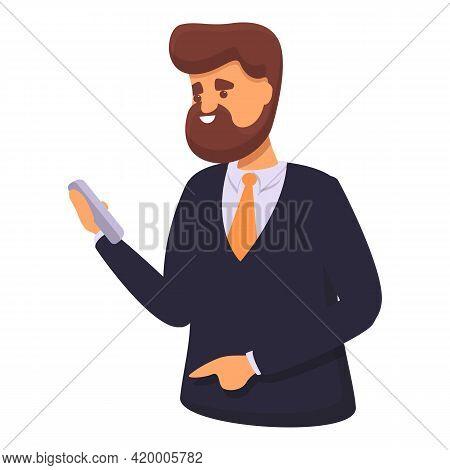 Businessman Messaging Network Icon. Cartoon Of Businessman Messaging Network Vector Icon For Web Des