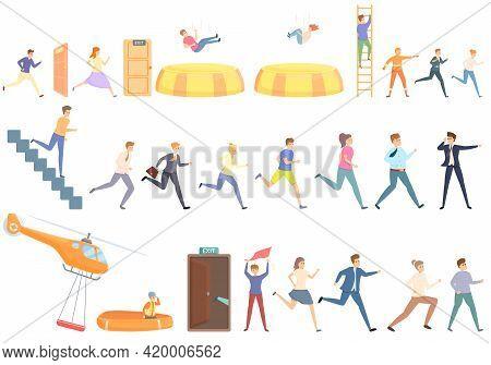Human Evacuation Icons Set. Cartoon Set Of Human Evacuation Vector Icons For Web Design