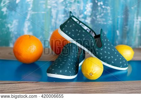 Summer Moccasins With Fruits, Still Life. Trendy , Fashionable Womens Cotton Shoes.pair Of Trendy Lo
