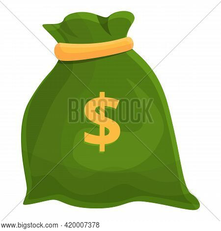 Bank Cash Money Bag Icon. Cartoon Of Bank Cash Money Bag Vector Icon For Web Design Isolated On Whit