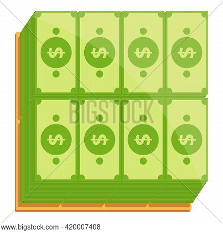 Bank Cash Top View Icon. Cartoon Of Bank Cash Top View Vector Icon For Web Design Isolated On White