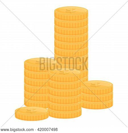 Bank Cash Coins Icon. Cartoon Of Bank Cash Coins Vector Icon For Web Design Isolated On White Backgr