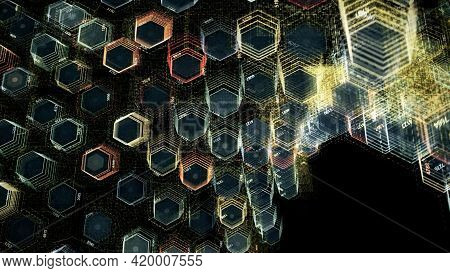 Abstract Bending Field Of Colorful Hexagons Rotating And Forming A Spiral. Animation. Curving Textur
