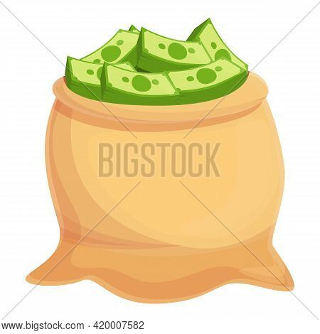 Dollar Cash Bag Icon. Cartoon Of Dollar Cash Bag Vector Icon For Web Design Isolated On White Backgr