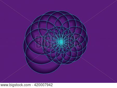 Snail Spiral Logo. Sea Shell Of Blue Circles. Sacred Geometry Logo Template. Logarithmic Sequences.