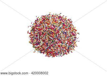 Candy Sprinkles Arranged In A Heap Pile On A Bright White Counter Table Studio As A Food Scene