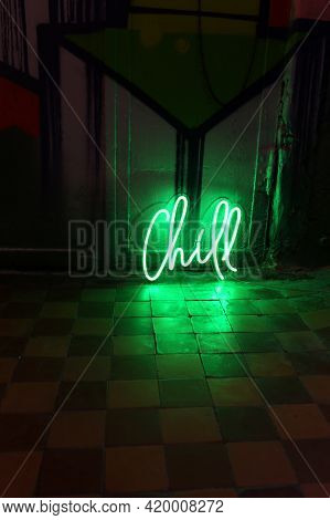 Green Neon Sign Chill. Trendy Style. Neon Sign. Custom Neon. Home Decor.