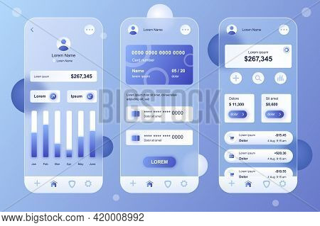 Online Banking Neumorphic Elements Kit For Mobile App. Accounting In Profile, Financial Statistics G