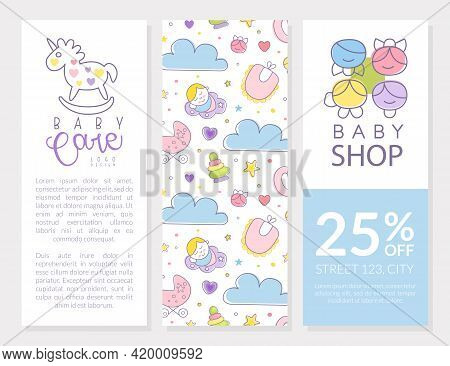 Cute Baby Care Brochure Template With Copyspace Vector Illustration