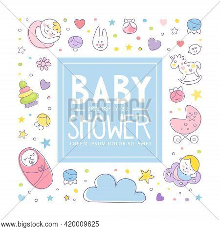 Cute Baby Care Square Card Template Vector Illustration