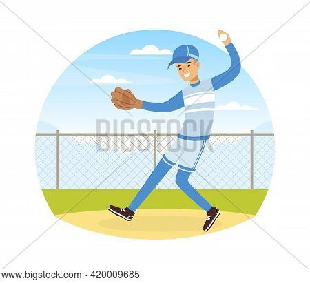 Young Man Character Playing Baseball Or Bat-and-ball Game On The Field Vector Illustration