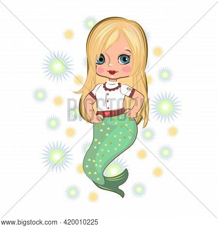 Little Mermaid Girl In Beautiful Clothes. Flirts. Handsome Fashionable Child. The Isolated Object On