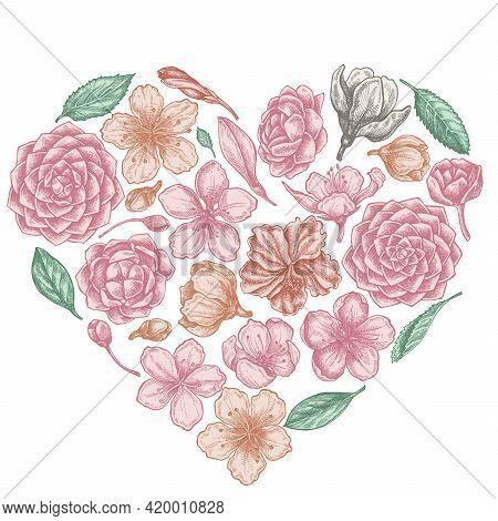 Heart Floral Design With Pastel Hibiscus, Plum Flowers, Peach Flowers, Sakura Flowers, Magnolia Flow