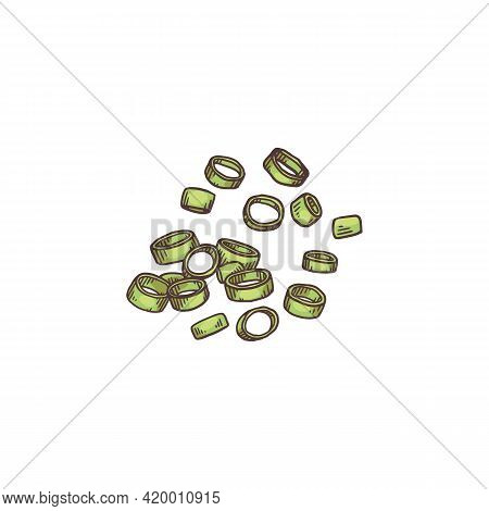 Chopped Green Onion Flying In Air, Isolated Cartoon Drawing