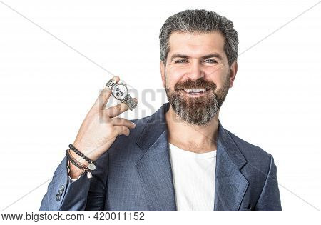 Man In Suit. Male Beard And Mustache. Sexy Male, Brutal Macho, Hipster. Hand In With Wrist Watch In