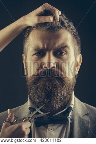 Bearded Man, Long Beard, Brutal, Caucasian Hipster With Moustache, Haircut. Vintage Barbershop, Shav