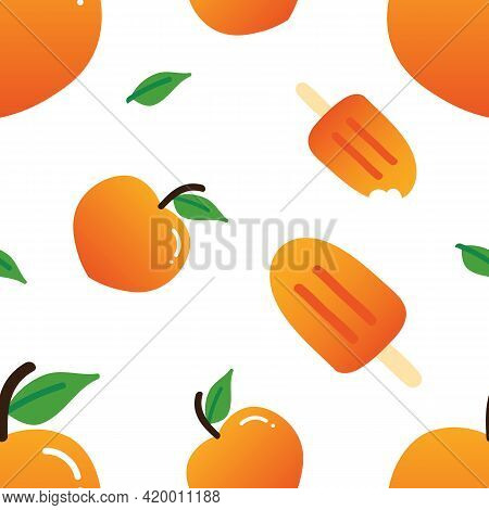 Peach Fruits With Green Leaves And Peach Ice Cream, Popsicle Cute Cartoon Style Vector Seamless Patt