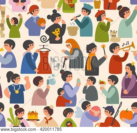 Seamless Pattern Cartoon People In Simple Flat Style. Vector Endless Wallpaper Characters.