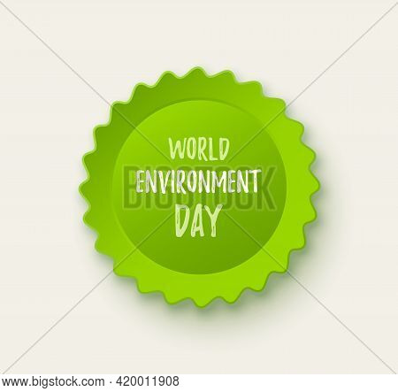 World Environment Day Banner. Eco Concept. Green World Map On Papercut Style. Vector Illustration
