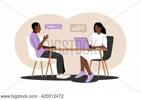 Job Interview Conversation. African Hr Manager And Job Candidate Meeting For Interview. Vector Illus