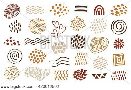 Organic Shapes Set, Design Template. Vector Abstract Textures, Waves, Dots, Lines, Forms. Terracotta