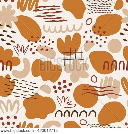 Seamless Pattern With Organic Shapes: Spots, Lines, Dots, Waves, Flowers. Abstract Vector Illustrati