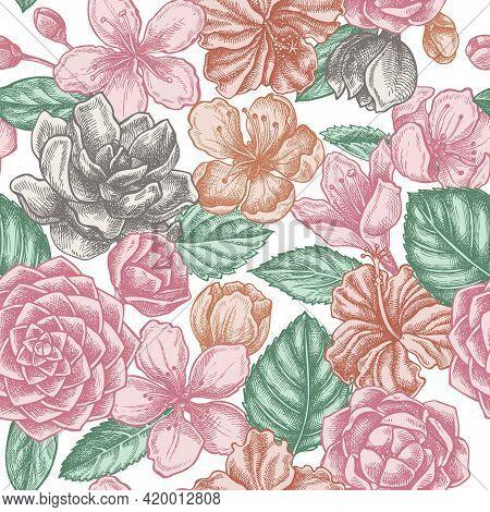 Seamless Pattern With Hand Drawn Pastel Hibiscus, Plum Flowers, Peach Flowers, Sakura Flowers, Magno