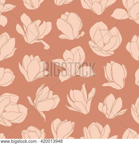 Seamless Pattern With Magnolia Flowers. Modern Minimalistic Style, Beige Blooming Buds On An Orange