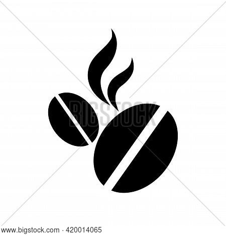 Icon With Roasted Coffee Beans. Symbol Of An Invigorating Drink. Black Isolated Illustration On Whit