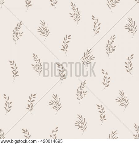 Seamless Pattern With Leaves. Natural Eco Friendly Background. Hand Drawn Vector Illustration In Tre