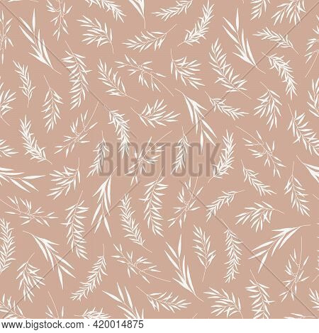 Seamless Pattern With Herbs, Leaves, Rustic Theme. Silhouettes Of Branches, Natural Eco Friendly Bac