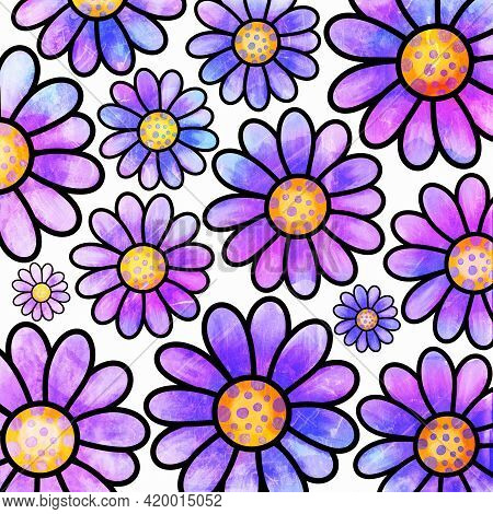 A Pretty, Watercolor Style Daisy Flower Background Pattern.