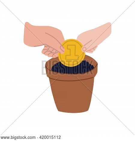 The Hands Of An Adult And A Child Plant A Coin In A Pot Of Soil. Family Budget And Investments. The