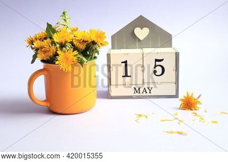 Calendar For May 15: Cubes With The Number 15, The Name Of The Month Of May In English, A Bouquet Of