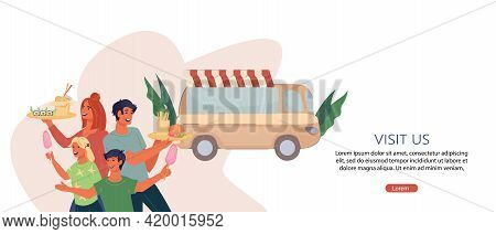 Flyer Or Banner Template With Happy Family Buying Meal At Truck Fast Food Cafe, Flat Vector Illustra