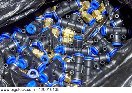 Set Of Plastic Couplings And Tees For The Pneumatic System