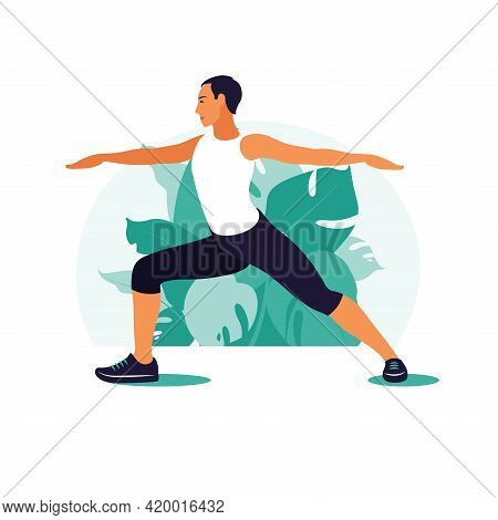 Man Exercising In The Park. Outdoor Sports. Healthy Lifestyle And Fitness Concept. Vector Illustrati