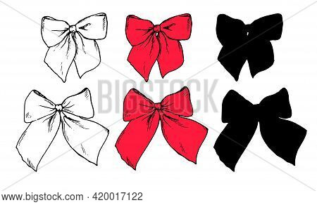 A Set Of Vector Isolated Elements Made Of Red Ribbon Bows. Hand Drawn Vintage Style Sketch Bows Blac