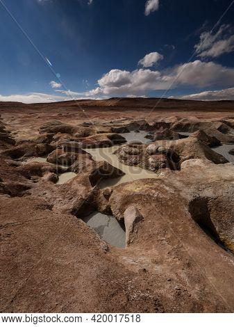 Geothermal Activity Volcanic Hot Sulphur Springs Mud Pool Fumaroles Sol De Manana Sur Lipez Potosi A