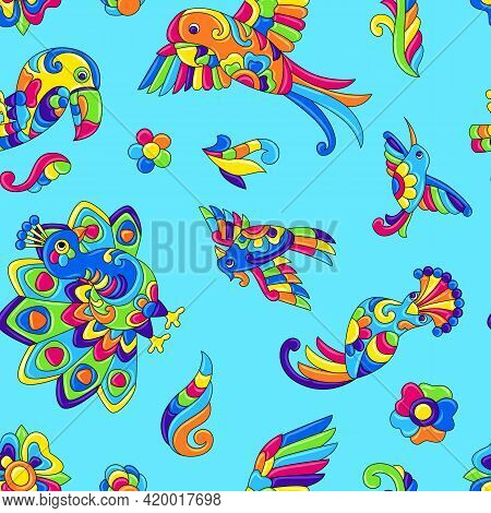 Seamless Pattern With Tropical Birds. Mexican Ceramic Cute Naive Art.