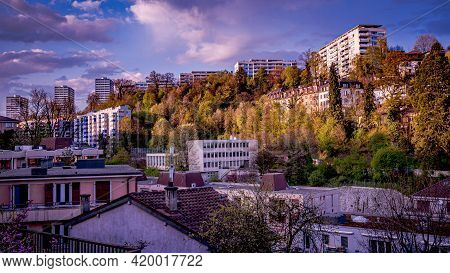 Panoramic View Of High Buildings And Houses Surrounded By Trees. Lausanne, Switzerland. Cityscape.