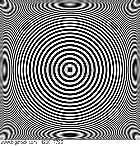 Concentric Rings Pattern. Lines Texture. 3d Illusion. Vector Art.